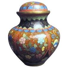 Small Japanese Cloisonne Lidded Jar Missing Finial on Lid