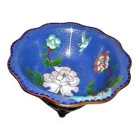 Blue Cloisonne Bowl with Classical Decorations on Carved Wood Display Stand