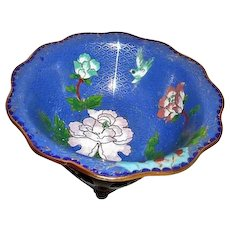 Bue Cloisonne Bowl with Classical Decorations on Carved Wood Display Stand