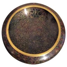 Coisonne Bowl in Brown Tones with Gold Outline on Carved Wood Display Base
