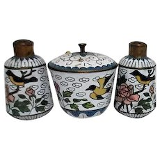 Three Piece Cloisonne Set Open Salt with Lid and Spoon, Two Pepper Shakers