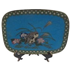 Japanese Small Cloisonne Tray Bird in Flowers