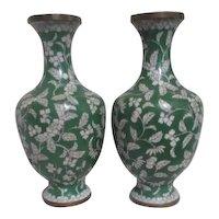 Pair of Cloisonne 1930's Green & White Vases