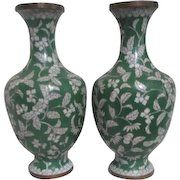 Pair of Cloisonne 1930's Green & White Vases