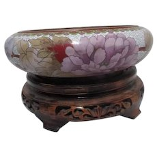 Wide Cloisonne Bowl with Chrysanthemum on Carved Wooden Stand