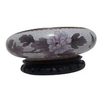 Cloisonne Bowl with Pink and Lavender Flowers on Carved Wooden Stand