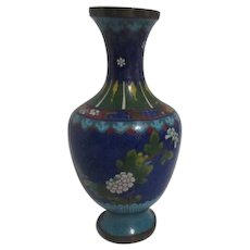Chinese Cloisonne Vase Royal Blue with Chrysanthemums
