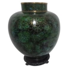Green Chinese Cloisonne Lidded Ginger Jar on Carved Wood Display Stand