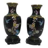 Pair of Mantle Design Mirror Image Cloisonne Vases on Wood Display Stands