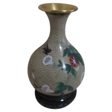 Cloisonne Vase with Robin and Morning Glories on Carved Wood Stand