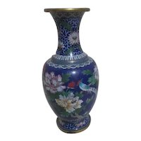 Tall Blue Cloisonne Vase with Long Tailed Bird and Chrysanthemums