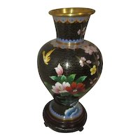 Cloisonne Vase Black with Pink Apple Blossoms and Hibiscus