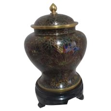Cloisonne Lidded Jar in Autumn Browns and Greens on Carved Wood Stand