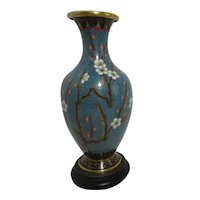 "7"" High Cloisonne Vase Turquoise Background Blossoms and Bird on Wooden Stand"