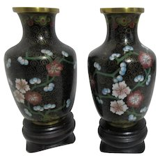 "Pair of 4"" High Cloisonne Vases with Floral Decoration on Wood Stands"