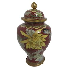 Lidded Cloisonne Ginger Jar with Butterfly and Chrysanthemums