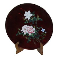 Japanese Sato Ginbari Cloisonne Red Foil Plate