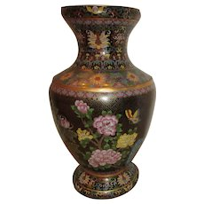 """Large 21"""" High Cloisonne Vase with Birds Flowers Butterfly"""