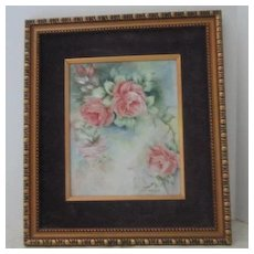 Vintage Painting of Roses on Ceramic Tile Signed by Drucilla
