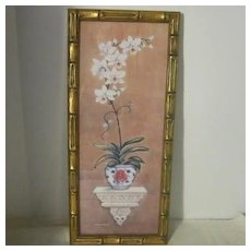 Vintage Water Color of an Orchid in an Oriental Bowl by Richard Henson