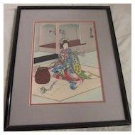 "Vintage Japanese Wood Block Print by Sadanobu Hasegawa, ""Maiko Girl Doing Flower Arrangements"""