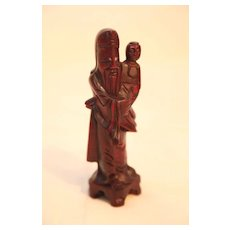 Vintage Chinese Wood Statue of Man Holding a Child