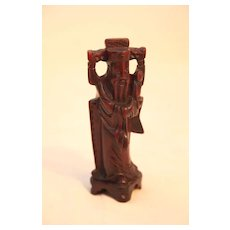 Vintage Chinese Wood Carving of Man Carrying a Ruyi