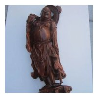 Antique Large Wood Carving Of Man with Child