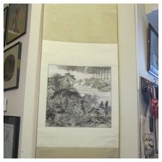 Asian Mountain Scene Hanging Scroll