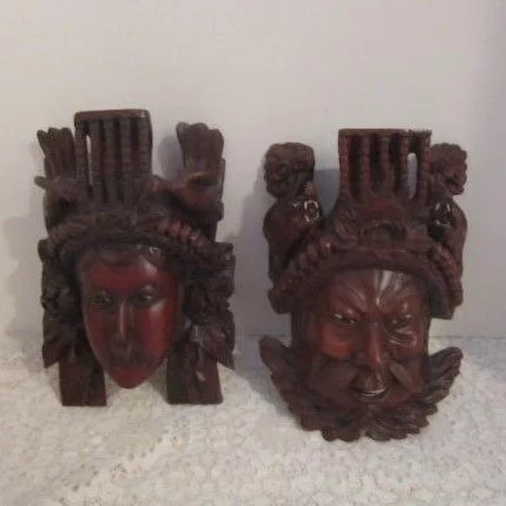 Pair Of Carved Wooden Masks Mongolian Warrior And Mate