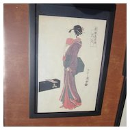 Signed Japanese Wood Block Print Of A Standing Geisha