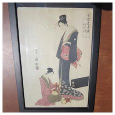 Japanese Print of a Wood Block Print of a Geisha Standing Over a Musician, Signed