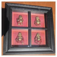 Framed Oriental Happy Buddha in Four Poses
