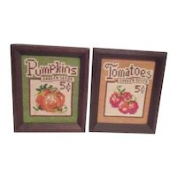 Two Framed Needlepoint Picture of Tomato and Pumpkin Seed Packages