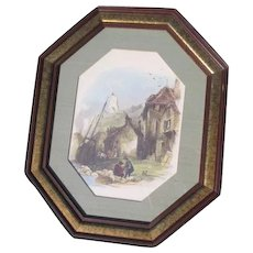 Framed Octagonal European Port Scene