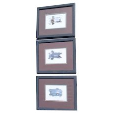 3 Framed and Matted Duck Prints by Richard Sloan 1980/81