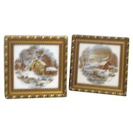 Pair of Currier and Ives Frames Tiles Winter Scenes