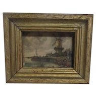 Miniature Framed Print of Dutch Countryside with Windmill