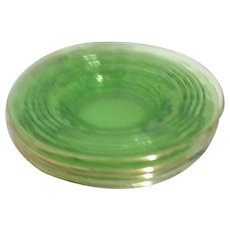 Set of 4 Green Glass Saucers with Gold Rim 1929-33