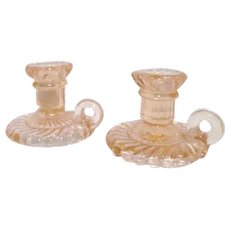 Pair of Small Pink Glass Candle Holders