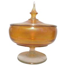 Carnival Glass Lidded Footed Candy Dish
