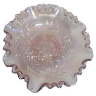 Imperial Carnival Glass Iridescent Pink with Ruffled Edges
