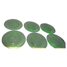 Set of 6 Green Glass Hocking Block Pattern Luncheon Plates