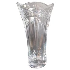 "14"" High Crystal Bohemia Clear Glass Vase"