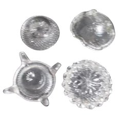 Set of 4 Clear Glass Open Salt Cellars