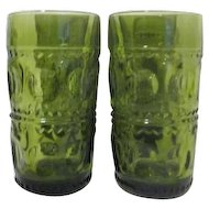 Set of 4 Avocado Green Kings Crown Water Tumblers