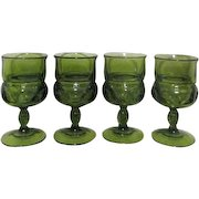 Set of 4 Avocado Green King's Crown Footed Goblets