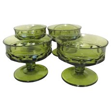 Set of 4 Avocado Green King's Crown Footed Sherbet Dishes