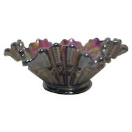 Small Imperial Scroll Embossed Iridescent Amethyst Carnival Glass Bowl