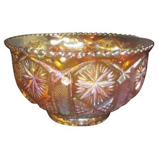 Golden Colored Iridescent Carnival Glass Bowl with Multiple Cut Patterns